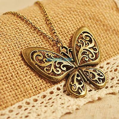 Lovely Vintage Retro Bronze Hollow Out Butterfly Pendant Bib Necklace Long Chain