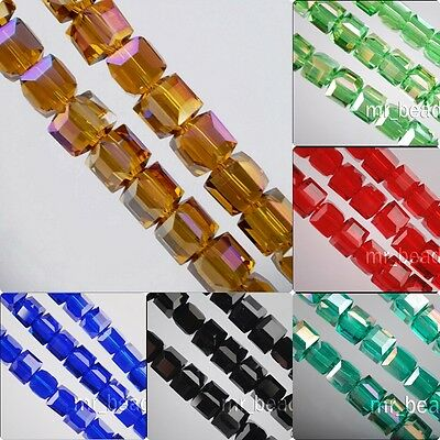 6x6mm 50x Cube Glass Crystal Spacer Beads Craft Jewelry Finding Charms Any Color