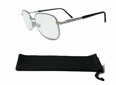 Extra Strong High Strength Square Silver Reading Glasses with Spring Hinges 807