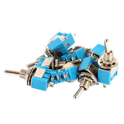 10 Pcs ON/ON 2 Position 3 Terminals 1NO 1NC SPDT Toggle Switch AC 125V 6A