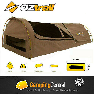 OZTRAIL MITCHELL 210x90cm KING SINGLE CANVAS DOME SWAG (TAN)