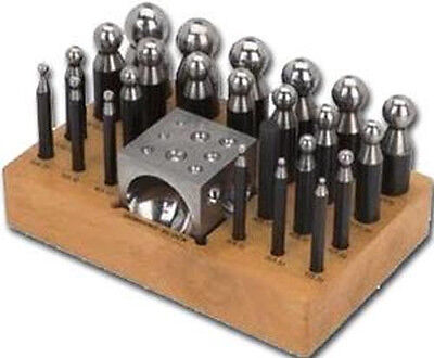 24 Pcs Dapping Punch & Doming Block set for Jewelry Shaping