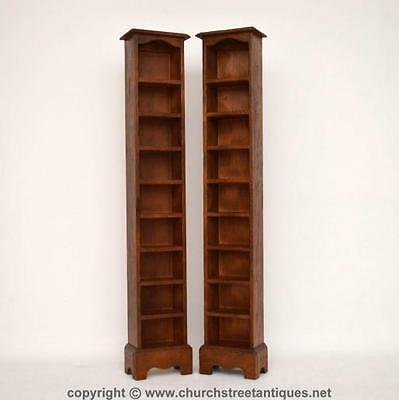 Pair Of Very Slim Tall Solid Oak Open Bookcases - Re-Constructed Antique Oak