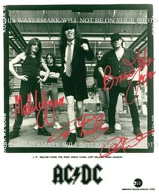 AC/DC BAND SIGNED AUTOGRAPHED 8x10 RP PHOTO ANGUS MALCOLM YOUNG BRIAN AC DC ROCK