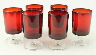 Vintage Arcoroc Ruby Red Footed Goblet Cocktail Juice Sherry Glass Set of 6