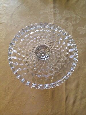 Vintage Fostoria American Pattern Old Round Cake Stand Clear With Center Well