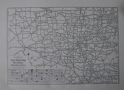 1924 Oklahoma Large Commercial Auto Road map* .Oklahoma Mileage map on back