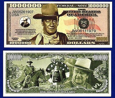 5-JOHN WAYNE MILLION DOLLAR BILLS TV- MOVIE -Actor-MOVIE- MONEY- NOVELTY -F3