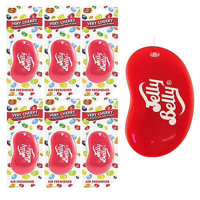 6 x Jelly Belly 3D Bean Sweets Scent Car Home Air Freshener Freshner VERY CHERRY