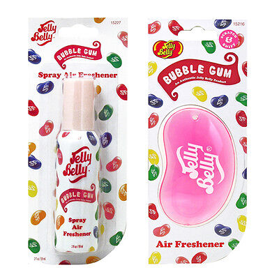 Jelly Belly Bean Sweet 3D Hanging + Spray Set Car Scent Air Freshener Bubble Gum