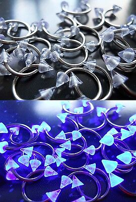 16g/18g Retainer Clear UV Pointed Stud Surgical Steel Septum Eyebrow Ring