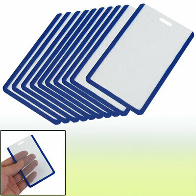 School Students Blue Clear Plastic Vertical Business ID Badge Card Holder 10PCS