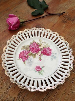 Sml Vintage Country French Provincial Style Pierced Porcelain Plate