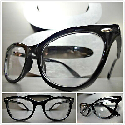 VINTAGE RETRO 60s CAT EYE CLEAR LENS EYE GLASSES NON PRESCRIPTION FASHION FRAMES