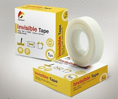 "60 Rolls Invisible Office Tape 3/4"" x 1000"""