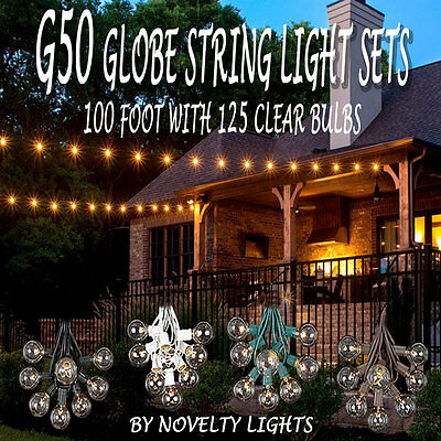 100 Foot Globe Patio Outdoor String Lights - Set of 125 G50 Clear Bulbs
