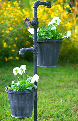 Faucet and Spigot Knob Weathered Gray 2 Bucket Garden Flower Planter Stake