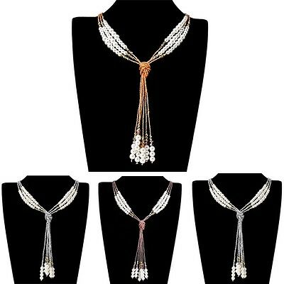 HOT Fashion Style Colorful Crystal White Pearl Chain Jewelry Pendant Necklace