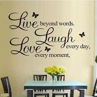 DIY Removable English&Butterfly Art Vinyl Quote Wall Sticker Decal Mural Decor