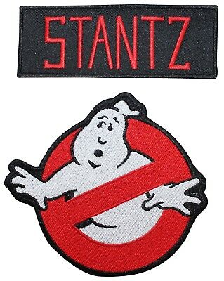 "Ghostbusters ""Stantz"" Uniform Name Tag & No Ghost Sign Iron On Applique Patch"