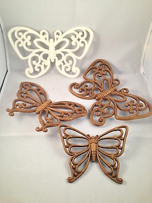 Lot of 4 Vintage Butterfly Wall Decor  Wicker Wood Appearance  HomeCo Plastic