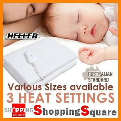 Heller Electric Blanket Tied Down Fitted Heated Bed Queen Double Single Size