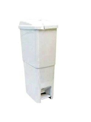 White Slimline Sanitary Bin - LIFT LID & FOOT PEDAL