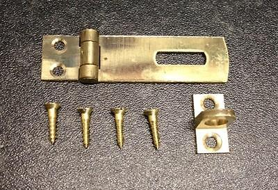 Small Solid Brass Hasp and Staple Catch Latch Cabinet Lock Inc Screws NEW