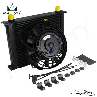 """Universal 30 Row Engine Transmission 10AN Oil Cooler + 7"""" Electric Fan Kit Black"""