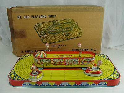 1950S J. CHEIN PLAYLAND WHIP #340 TIN LITHO WIND UP TOY W/ ORIG. BOX CARNIVAL