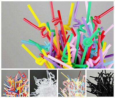 "New 100pcs Extra Long Flexible Straws Mix Colors 10 1 /4 ""Christ Cocktail Party"