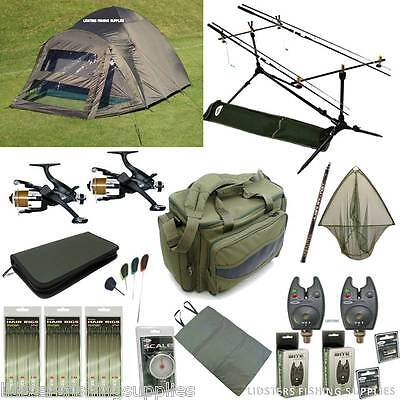 Full Carp Fishing Starter set up Bivvy Tent 2 Rods and Reels Bag Alarms Tackle
