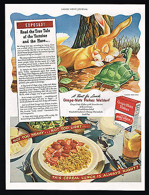 1944 Nursery Fable Story Tortoise & The Hare Grape Nuts Cereal Print Ad