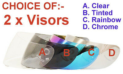 2 Visors For Full Face Motorcycle Helmet Choice- Clear, Tinted, Rainbow, Chrome