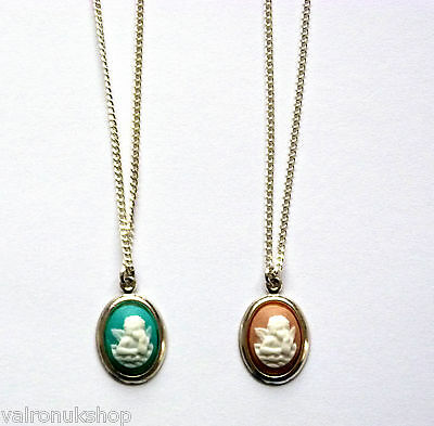 """CUTE CHERUB CAMEO PENDANT GOLD PLATED NECKLACE 16"""" OR 18"""" CHAIN (16 x 12 mm)"""