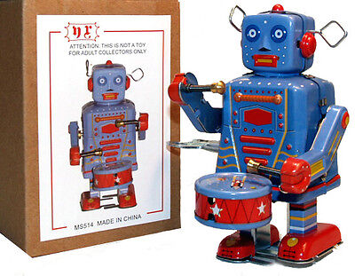Tin Toy Windup Drummer Robot Marching