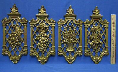 Vintage 4 Piece Set Wall Hangings Gold Plastic Syroco Homco Floral Fruit Bouquet
