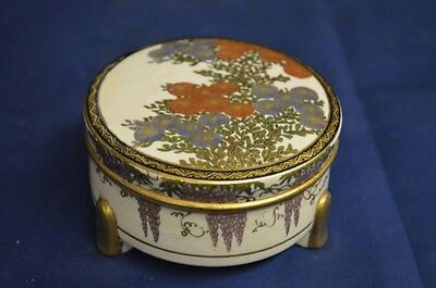 Antique Round Satsuma Box Meiji Period