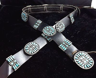 Navajo Silver and Turquoise Concho Belt STERLING Pettipoint Signed RNN *ST067