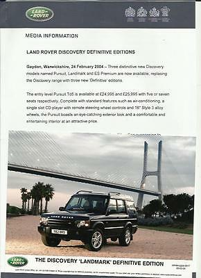 Land Rover Discovery Landmark Original Press Release Photo 'brochure' Connected