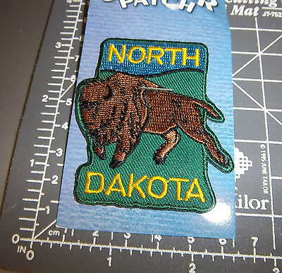 North Dakota Beautiful Embroidered patch, new! with Plains Bison