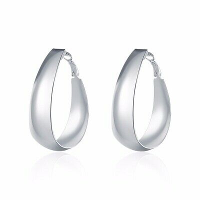 "925 Sterling Silver Hoop Pierced Earrings 1.92"" Inches L6"