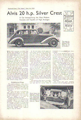 Alvis 20HP Silver Crest Period Reprinted Road Test from The Motor in 1938