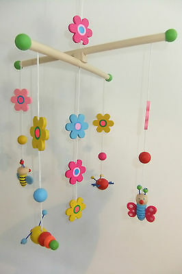 Children's Long Wooden Colourful Insect & Flower Baby Mobile Nursery Decor!