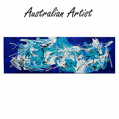 HUGE ABSTRACT CANVAS PAINTING 120cm Turquoise BLUE BLACK Modern wall art  DECO