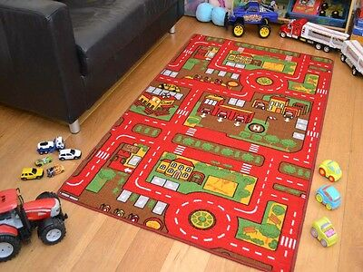 Small Extra Large Red Boys Kids Machine Washable Anti-Slip Rugs Play Road Cheap