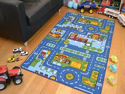Small Extra Large Blue Boys Kids Machine Washable Anti-Slip Rugs Play Road Cheap