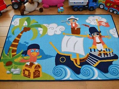 Small Large Boys Kids Pirate Washable Non Slip Bedroom Pirates Floor Rugs Mats