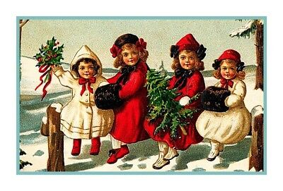 Vintage Victorian Christmas Scene # 305 Counted Cross Stitch Chart Graph