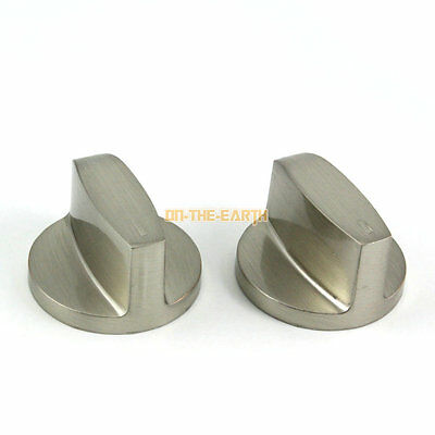 2 Piece Kitchen Metal Gas Stove Range Burner Knob Switch Replacement 6mm Hole (A